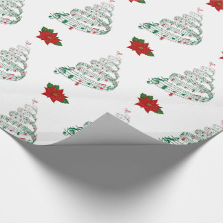 Musical Christmas Tree & Poinsettia Wrapping Wrapping Paper