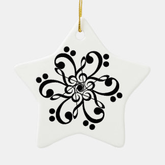 Musical Clef Barnstar Ceramic Ornament