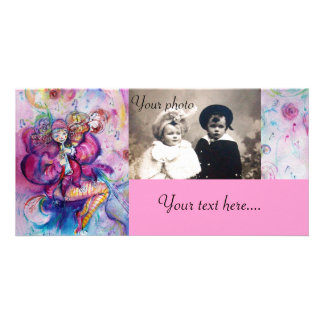 MUSICAL CLOWN pink white blue Picture Card
