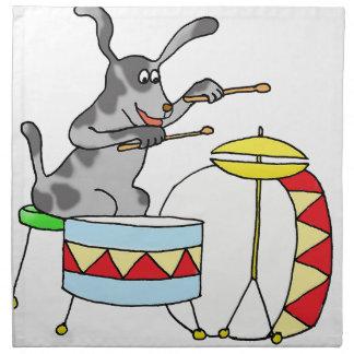 Musical Dog playing drums Napkin