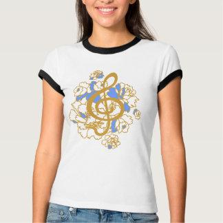 Musical Dragon treble clef peonies Custom  Shirt
