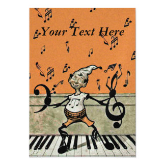 Musical Elf Goblin Piano Music Notes Magnetic Invitations