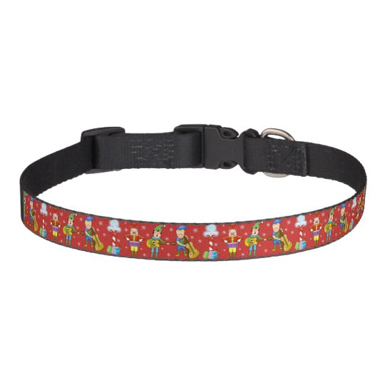 Musical Elves around the North Pole Dog Collar