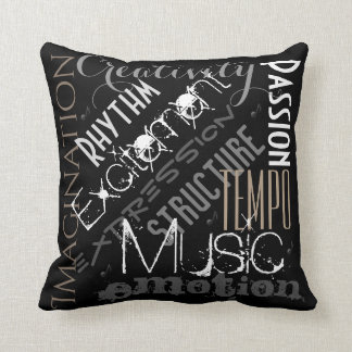 Musical Expression Black, White and Gray Pillow