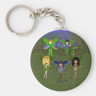 Musical Faerie Band in Enchanting Field Key Ring