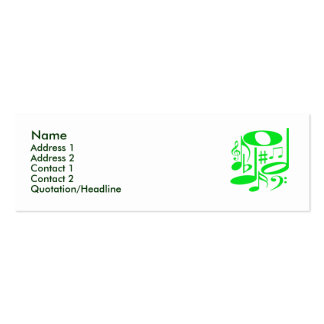 Musical Green Profile Card Pack Of Skinny Business Cards