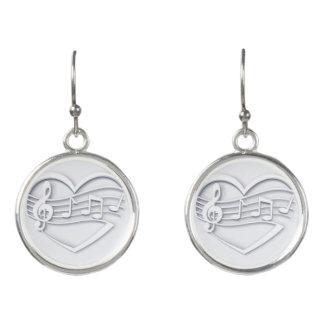 Musical heart earrings
