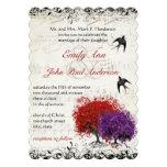 Musical Heart Leaf Red Purple Tree Birds Wedding Custom Invites