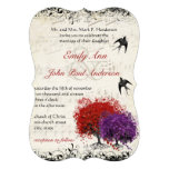 Musical Heart Leaf Red Tree Vintage Birds Wedding Custom Invites