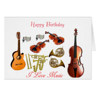 Musical instruments for Birthday Greeting Card