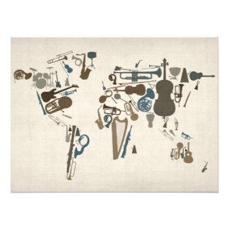 Musical Instruments Map of the World Photographic Print