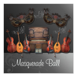 Musical Instruments Masquerade Ball Invitation