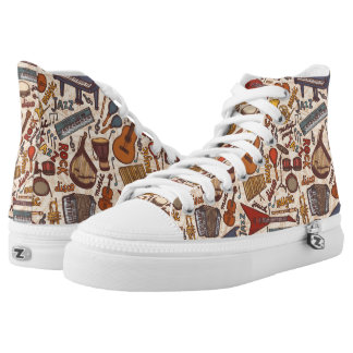 Musical Instruments: Piano Guitar Violin Drums. Printed Shoes