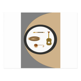 musical instruments postcard