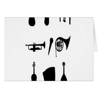 Musical instruments silhouettes design card
