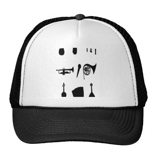 Musical instruments silhouettes design hat