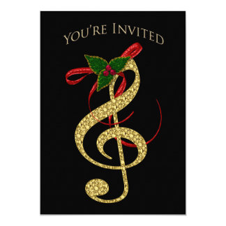 Musical Invitation - Christmas - G-Clef in Gold