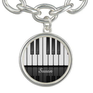 Musical Keyboard Design Charm Bracelet