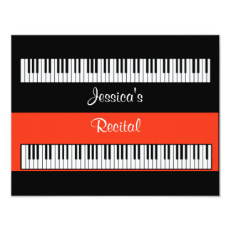 "Musical Keyboard Piano Recital Or Party INVITATION 4.25"" X 5.5"" Invitation Card"