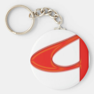 Musical Letter a Vibrant Red Color Basic Round Button Key Ring