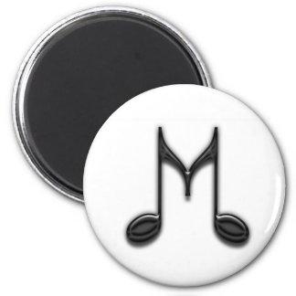 "Musical ""M"" Letter 6 Cm Round Magnet"