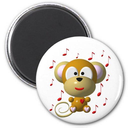 Musical monkey refrigerator magnets