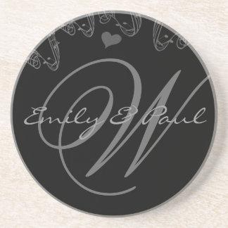 Musical Monogram Wedding Anniversary Coasters