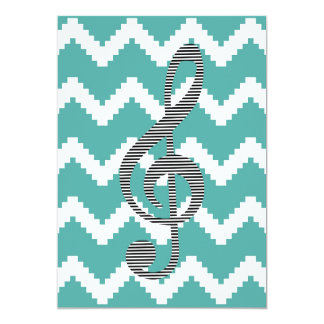 Musical note - Abstract geometric pattern - blue. Card