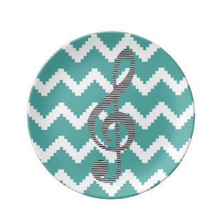 Musical note - Abstract geometric pattern - blue. Plate
