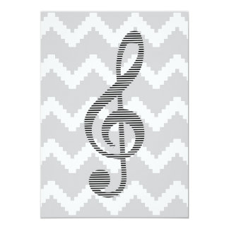 Musical note - Abstract geometric pattern - gray. Card