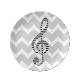 Musical note - Abstract geometric pattern - gray. Plate