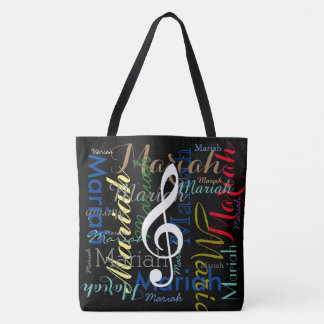 musical note & colorful names, black tote bag
