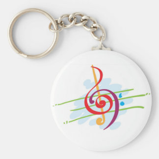 Musical Note Design Basic Round Button Key Ring