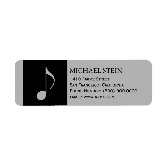 musical note, name & return address label