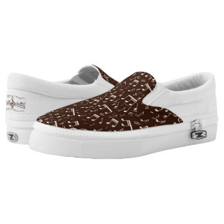Musical Note Pattern in Shades of Brown Slip On Shoes