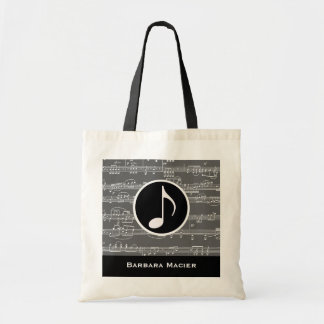 musical-note personalized tote bag