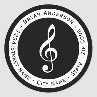 Musical Note Return Address Label