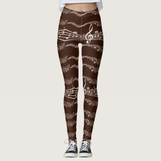 Musical Note Themed Two-Tone Shades of Brown Leggings