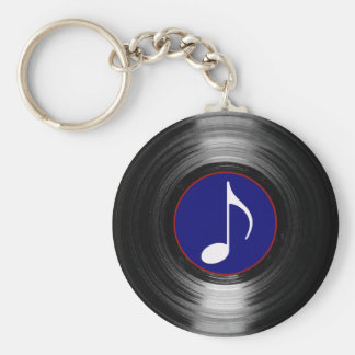 musical note vinyl key ring