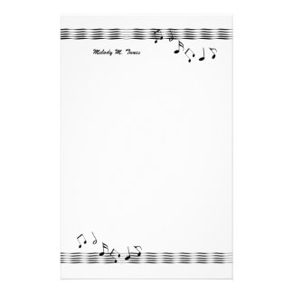 Musical Note Waves Customized Stationery