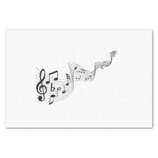 Musical Notes -  10lb Tissue Paper, White Tissue Paper