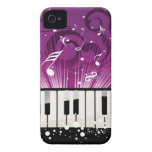 Musical Notes and Ivory Keys Purple Case iPhone 4 Case