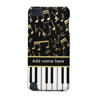 Musical Notes and Piano Keys Black and Gold iPod Touch (5th Generation) Covers