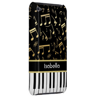 Musical Notes and Piano Keys Black and Gold iPod Touch Covers