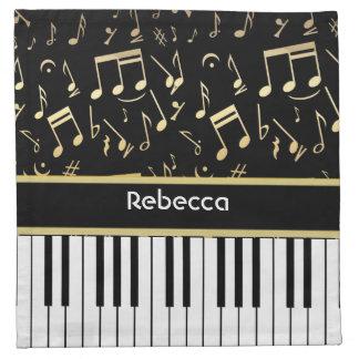 Musical Notes and Piano Keys Black and Gold Napkins