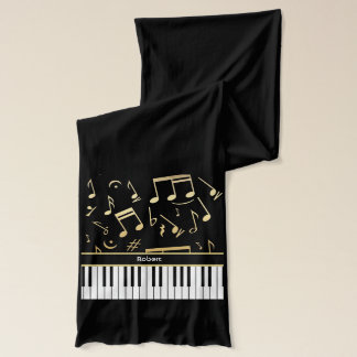 Musical Notes and Piano Keys Black and Gold Scarf