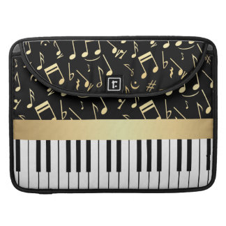 Musical Notes and Piano Keys Black and Gold Sleeves For MacBooks