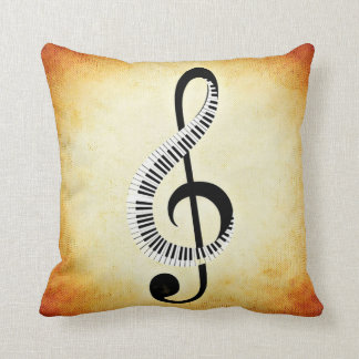 Musical Notes and Piano Keys Throw Pillow
