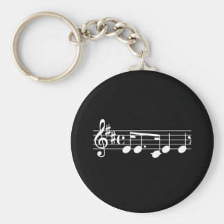 Musical Notes Basic Round Button Key Ring