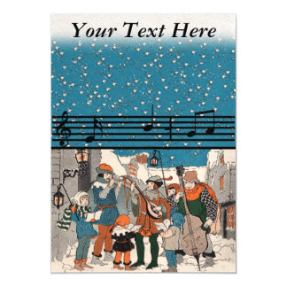 Musical Notes Christmas Carolers Stars Village Magnetic Invitations